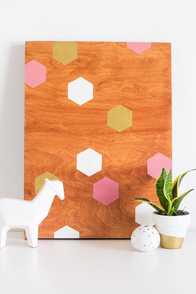 Sarah hearts diy geometric wood panel wall art for Geometric wall art diy